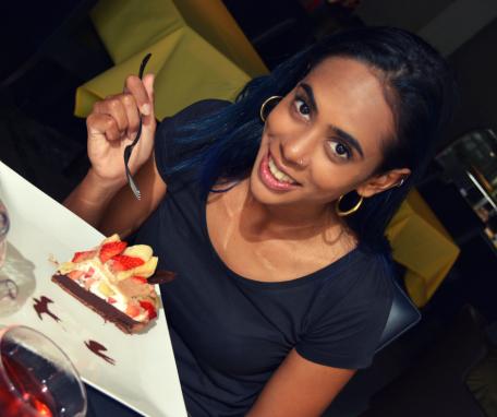 me eating cake